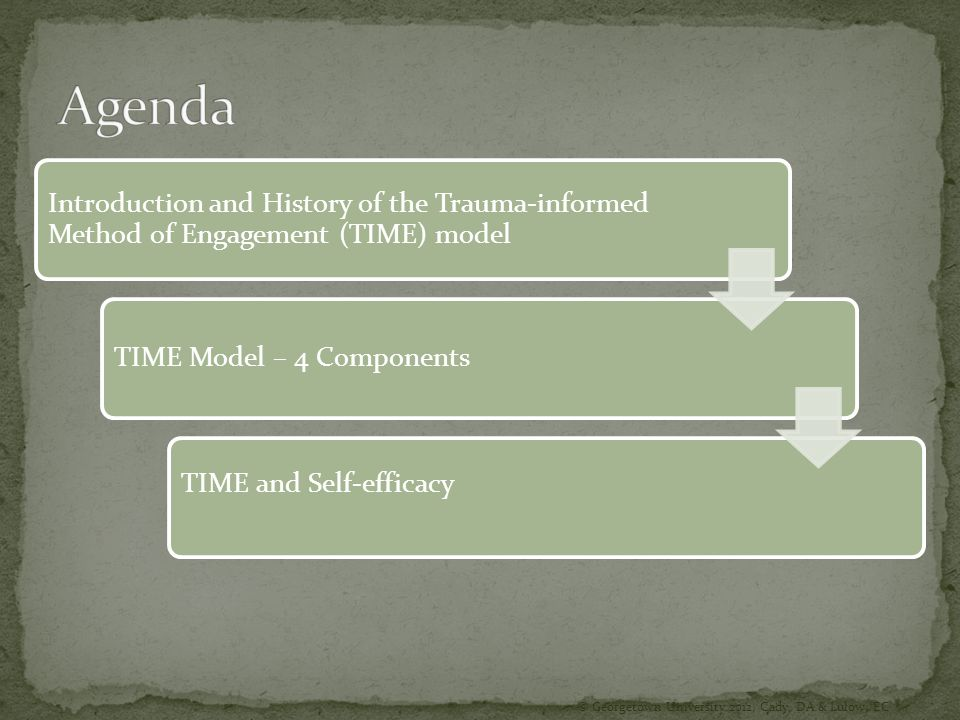 Agenda Introduction and History of the Trauma-informed Method of Engagement (TIME) model. TIME Model – 4 Components.