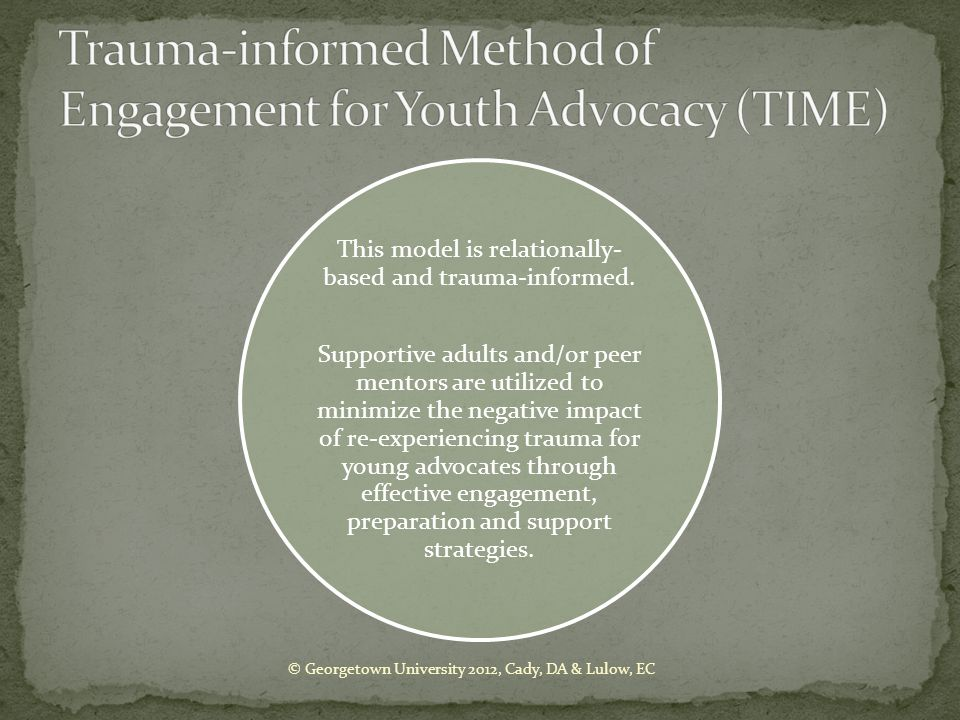 Trauma-informed Method of Engagement for Youth Advocacy (TIME)