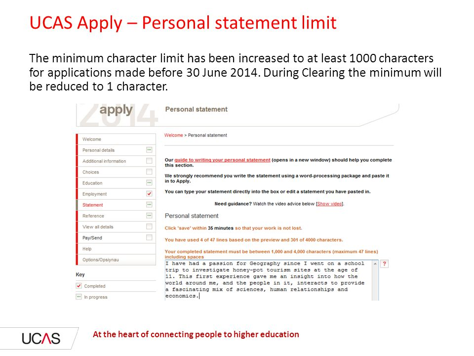 personal statement word limit uk