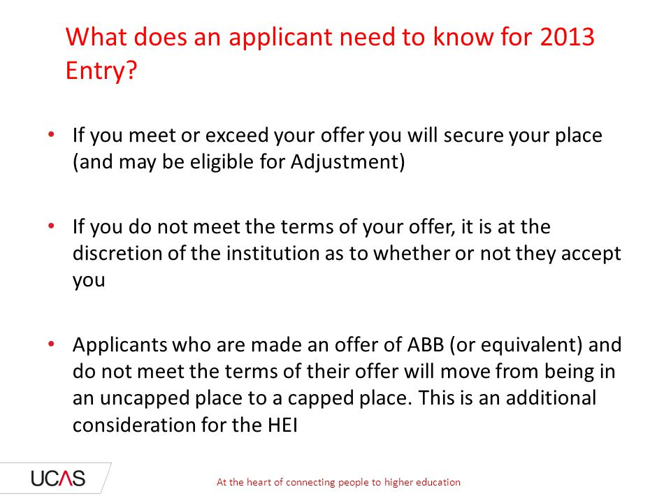 What does an applicant need to know for 2013 Entry