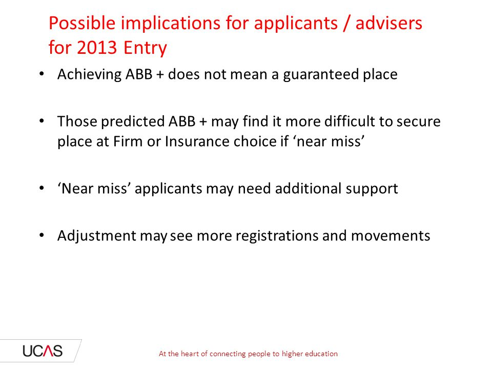 Possible implications for applicants / advisers for 2013 Entry