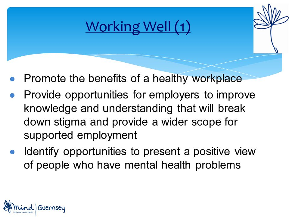 Working Well (1) Promote the benefits of a healthy workplace