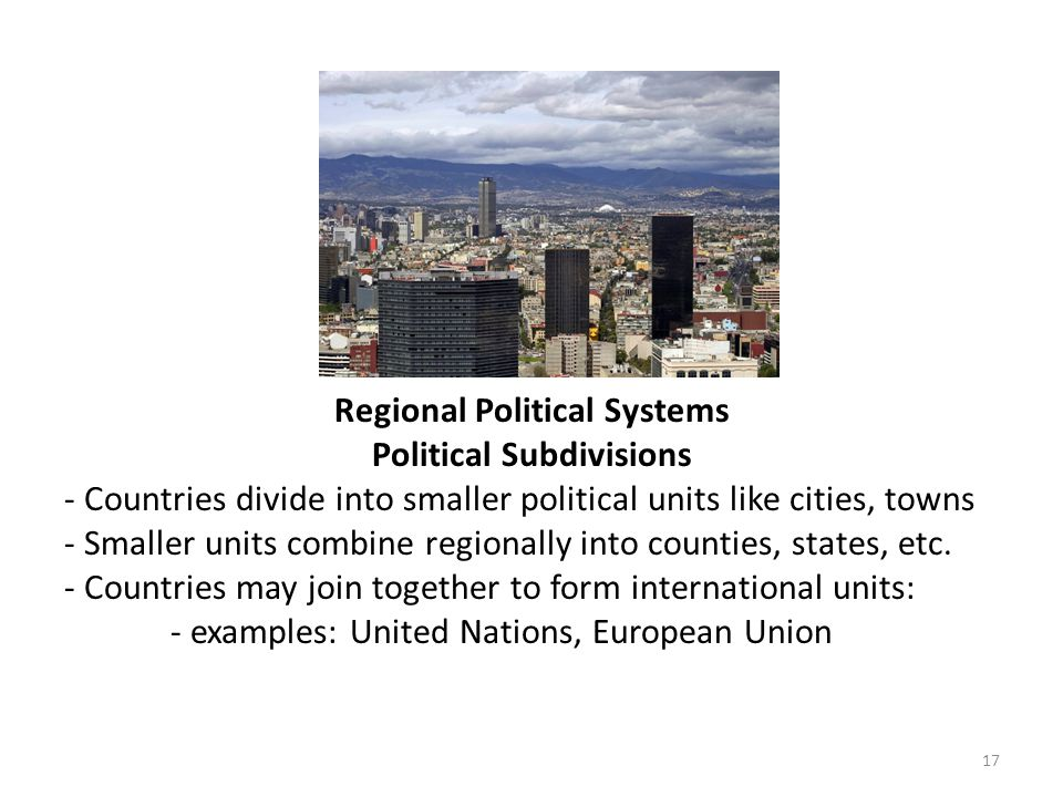 Regional Political Systems Political Subdivisions