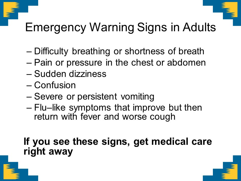 Emergency Warning Signs in Adults