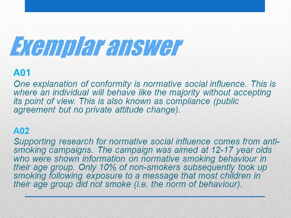Exemplar answer A01.