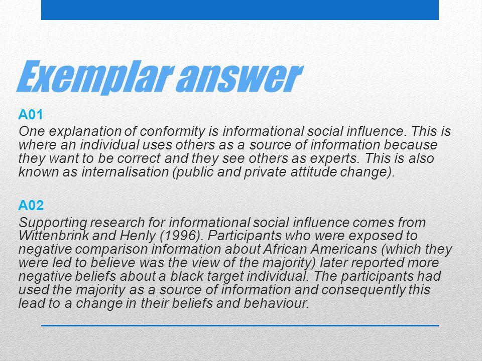 Exemplar answer