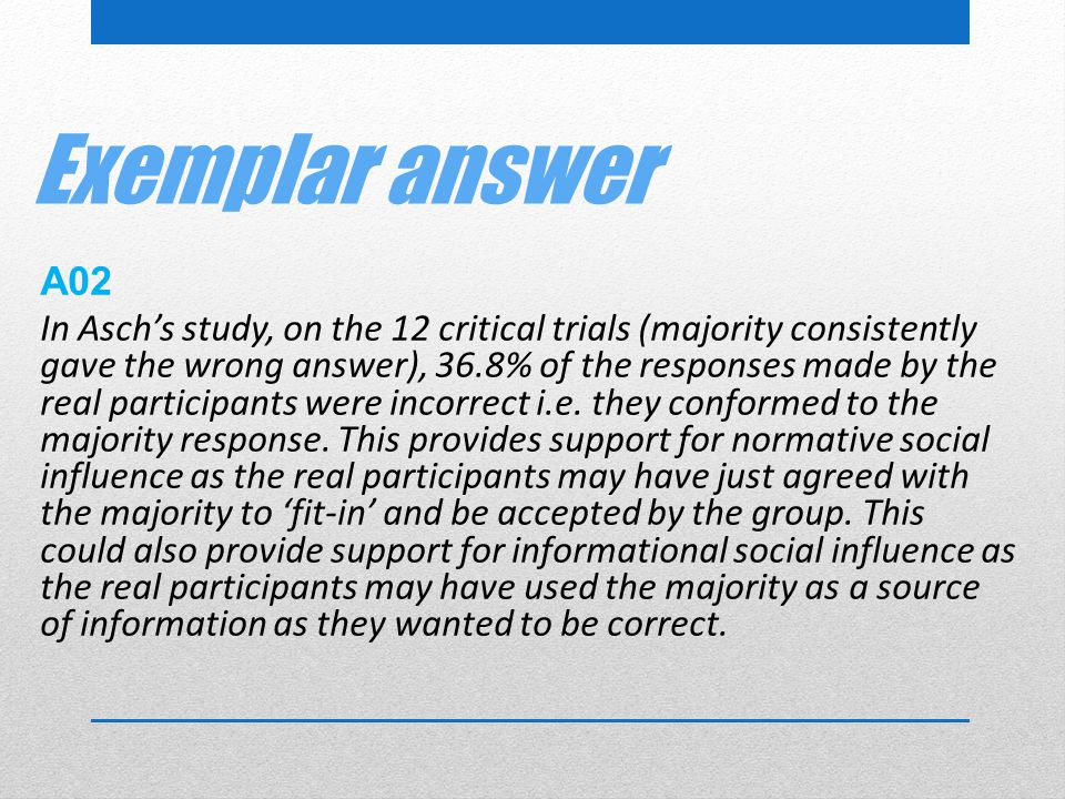 Exemplar answer A02.