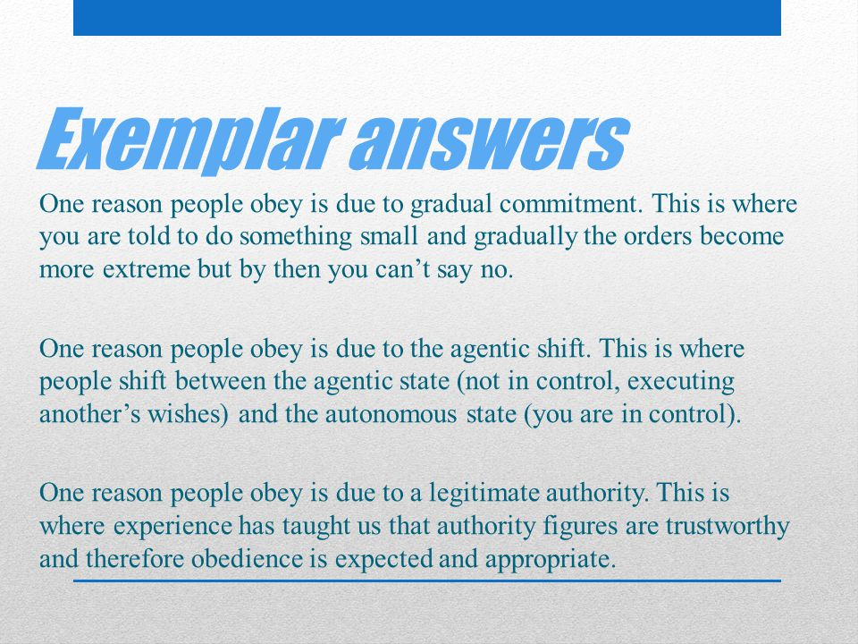 Exemplar answers