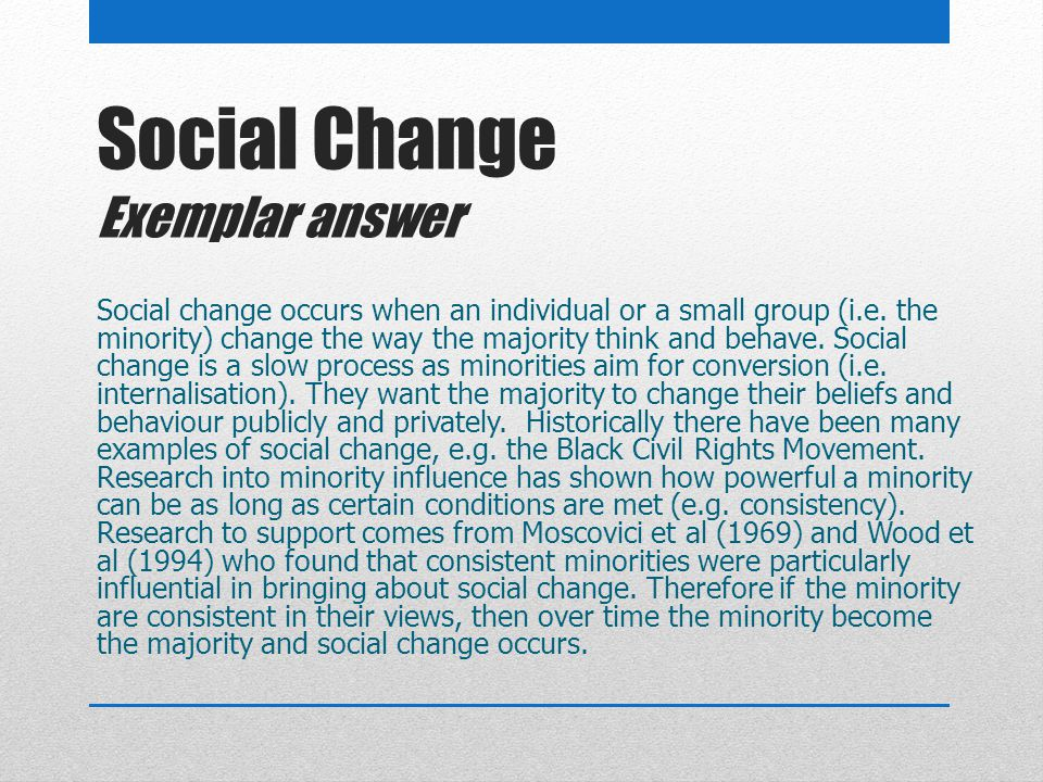 Social Change Exemplar answer