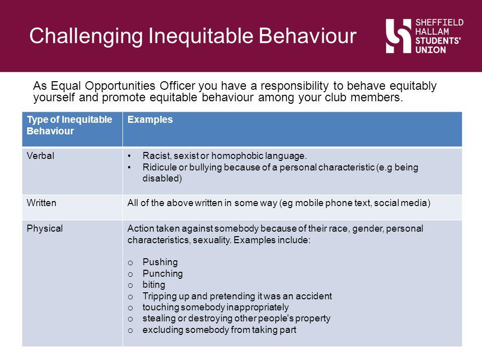 Challenging Inequitable Behaviour