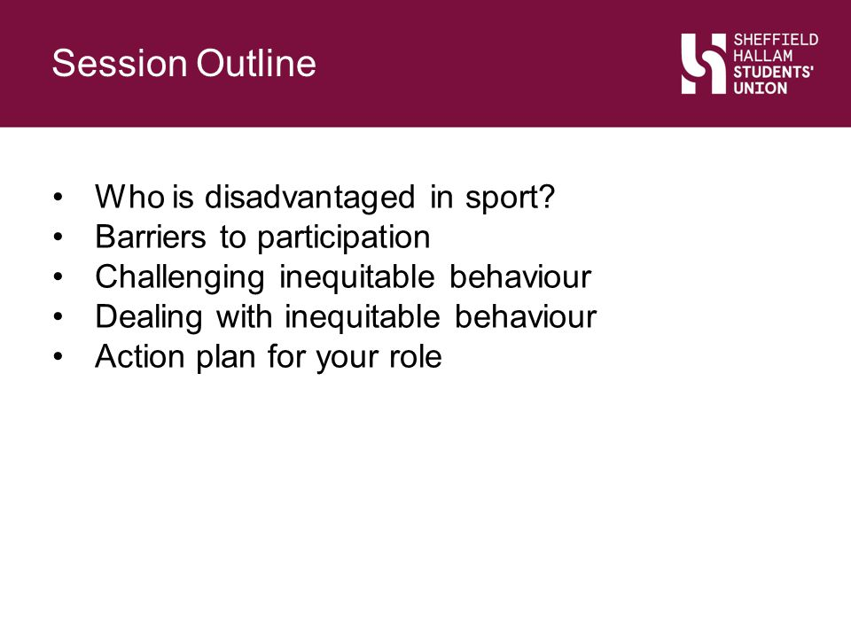 Session Outline Slide Title. Who is disadvantaged in sport Barriers to participation. Challenging inequitable behaviour.