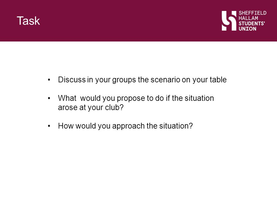 Task Slide Title. Discuss in your groups the scenario on your table. What would you propose to do if the situation arose at your club
