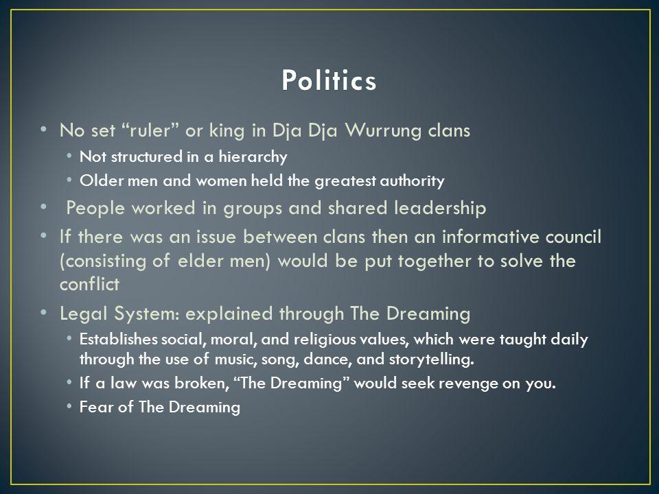 Politics No set ruler or king in Dja Dja Wurrung clans