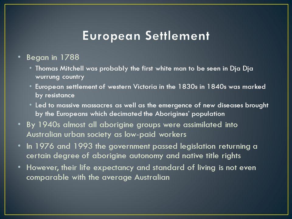 European Settlement Began in 1788