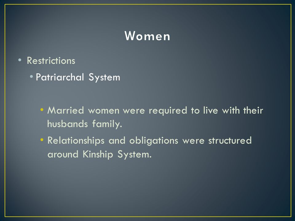 Women Restrictions Patriarchal System