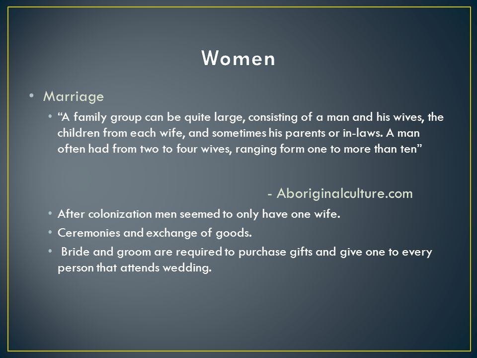 Women Marriage - Aboriginalculture.com