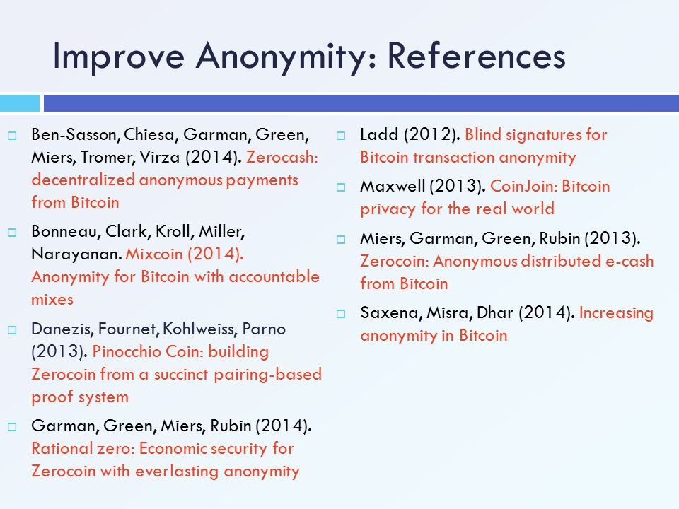 Improve Anonymity: References