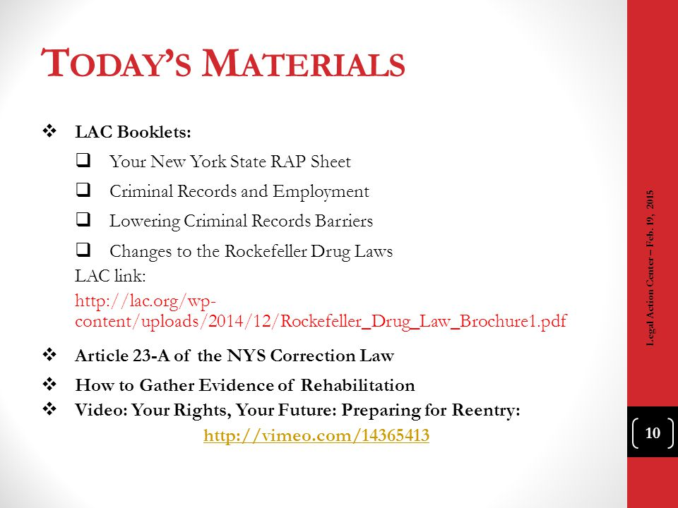 Today's Materials LAC Booklets: Your New York State RAP Sheet