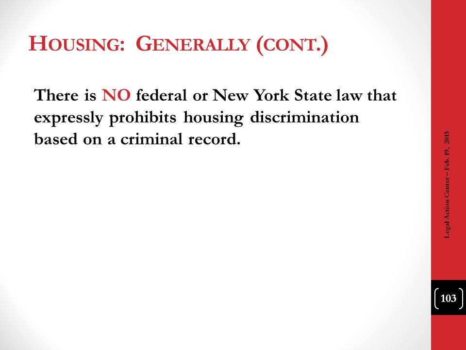 Housing: Generally (cont.)