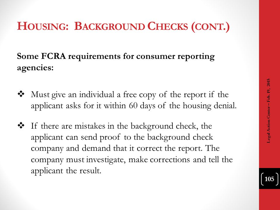 Housing: Background Checks (cont.)