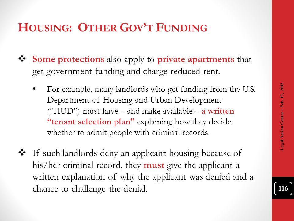 Housing: Other Gov't Funding
