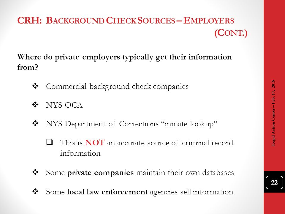 CRH: Background Check Sources – Employers (Cont.)