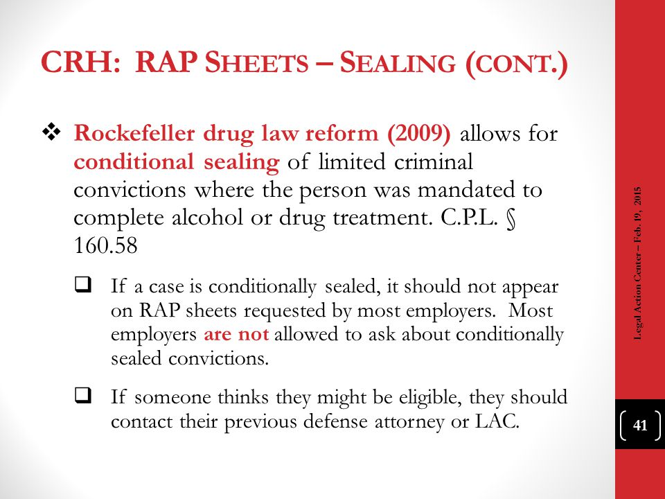 CRH: RAP Sheets – Sealing (cont.)