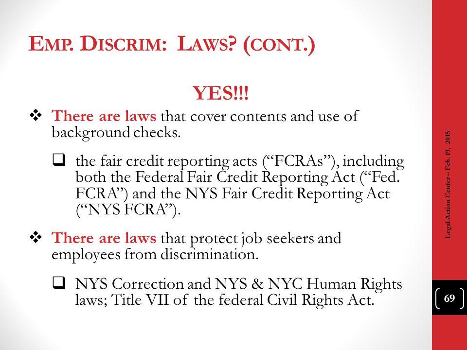 Emp. Discrim: Laws (cont.)