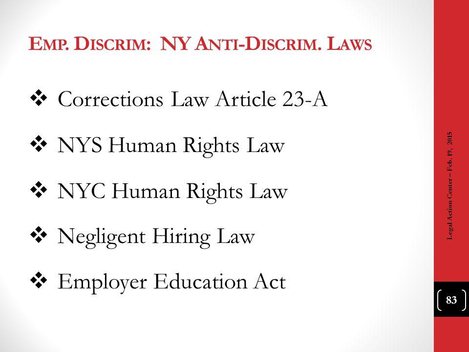 Emp. Discrim: NY Anti-Discrim. Laws