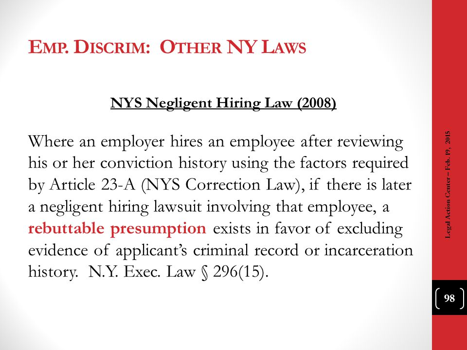 Emp. Discrim: Other NY Laws