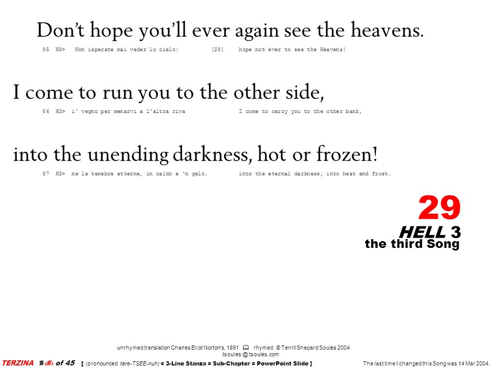 Don't hope you'll ever again see the heavens.