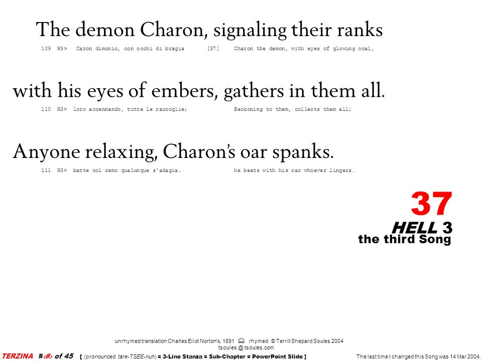 The demon Charon, signaling their ranks
