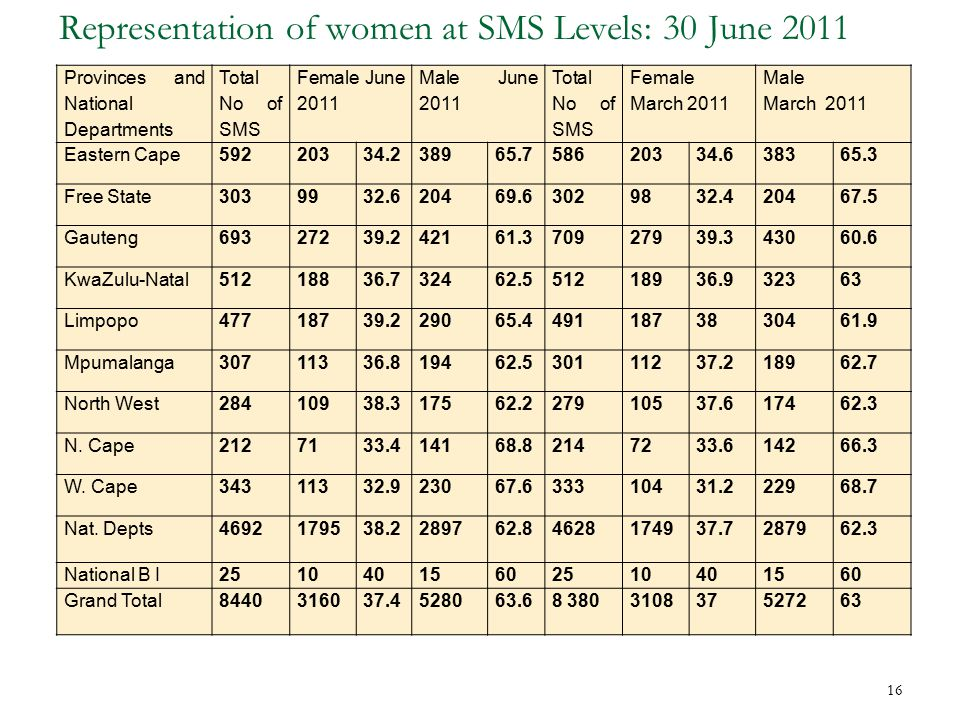 Representation of women at SMS Levels: 30 June 2011