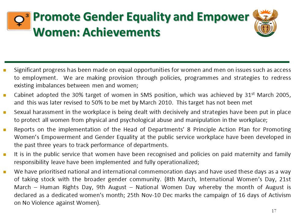 Promote Gender Equality and Empower Women: Achievements