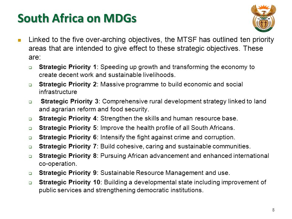 South Africa on MDGs