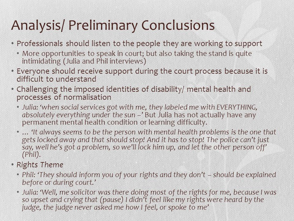 Analysis/ Preliminary Conclusions