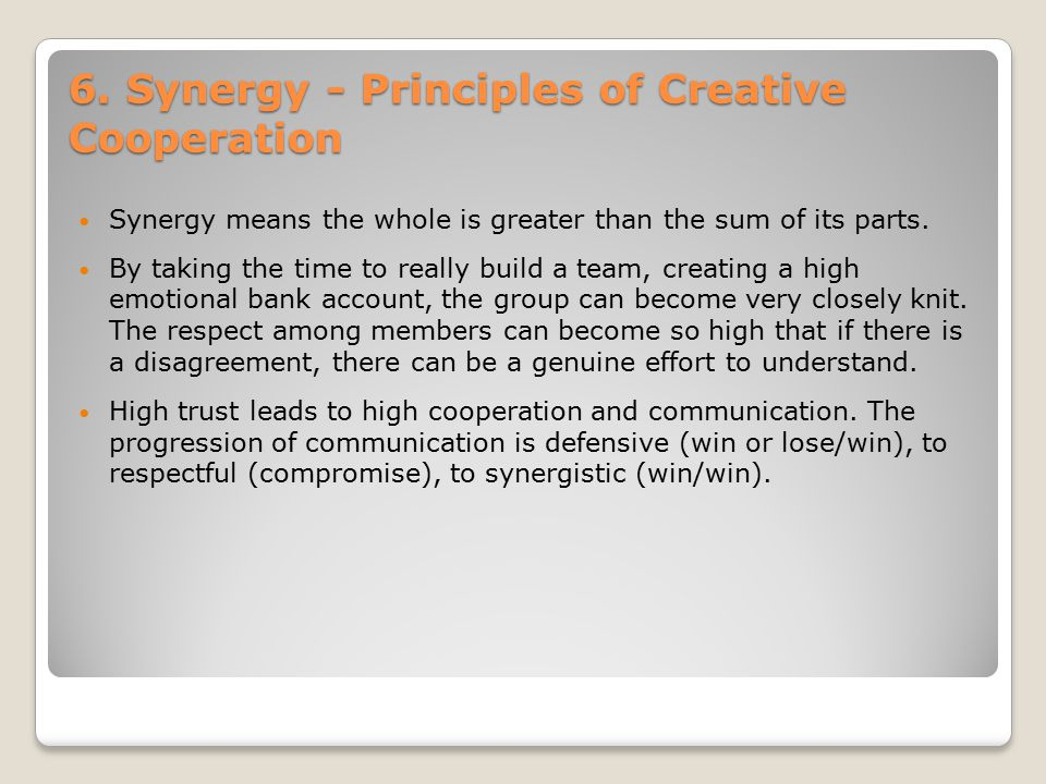 6. Synergy - Principles of Creative Cooperation