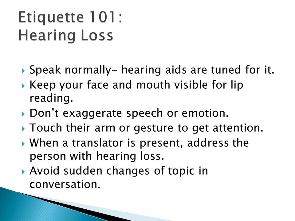 Etiquette 101: Hearing Loss