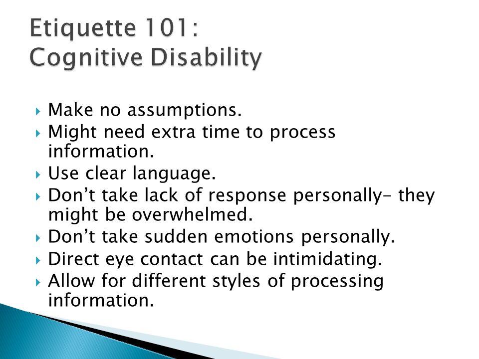 Etiquette 101: Cognitive Disability