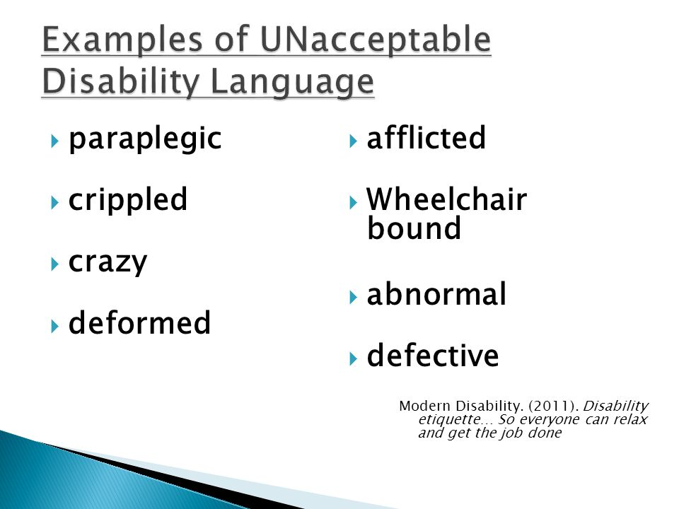 Examples of UNacceptable Disability Language