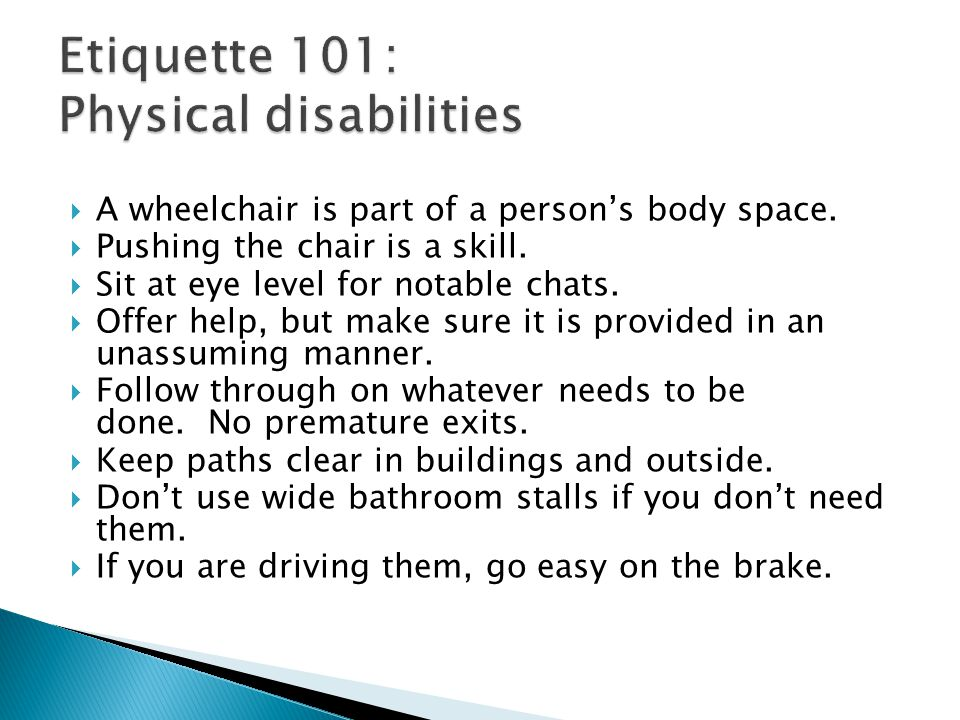 Etiquette 101: Physical disabilities