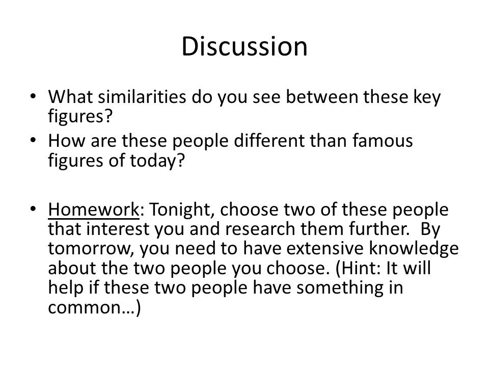 Discussion What similarities do you see between these key figures