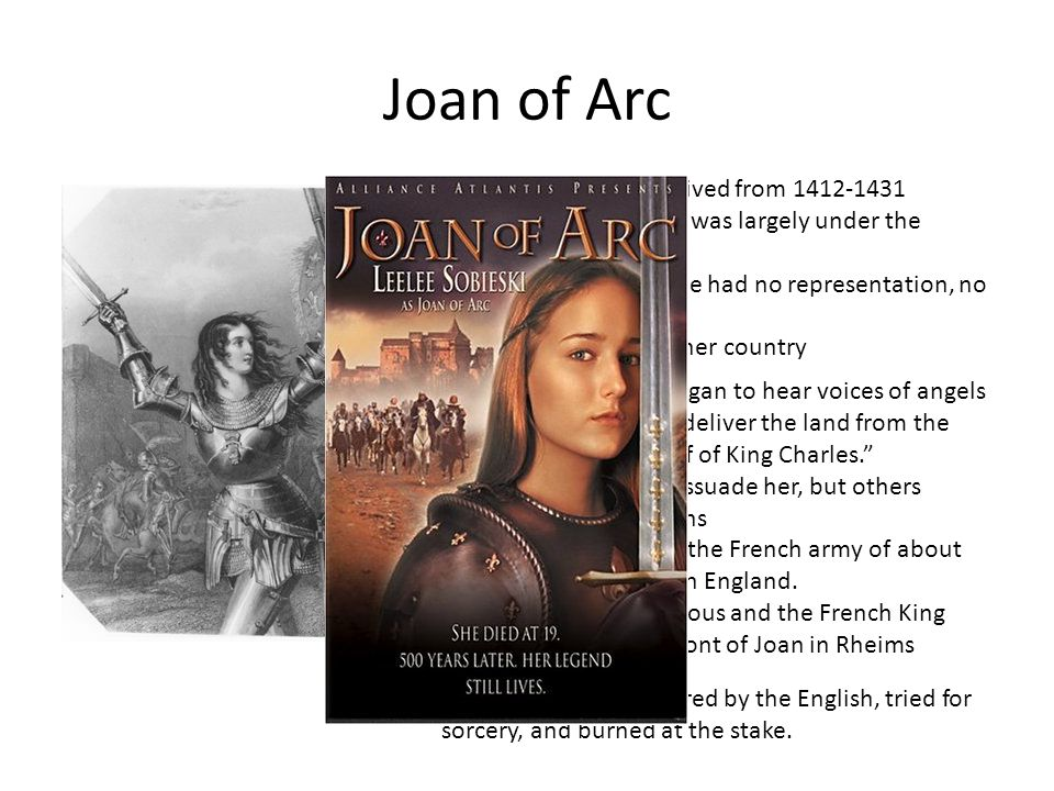 Joan of Arc French Peasant who lived from 1412-1431