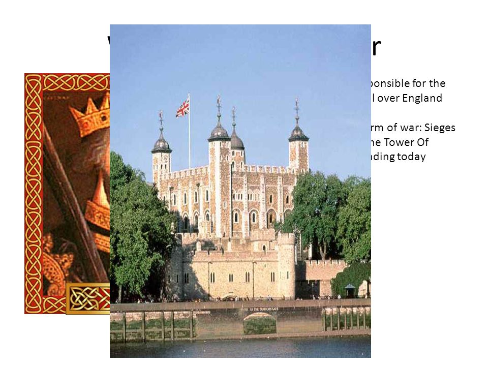 William the Conquerer English ruler who is responsible for the construction of castles all over England.