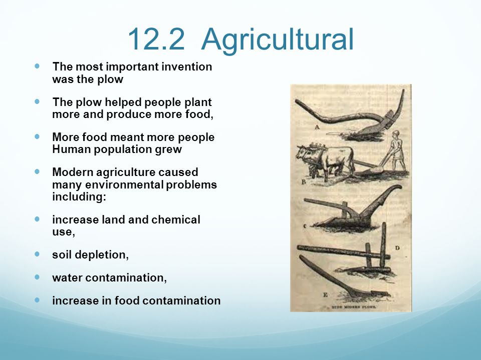 12.2 Agricultural The most important invention was the plow