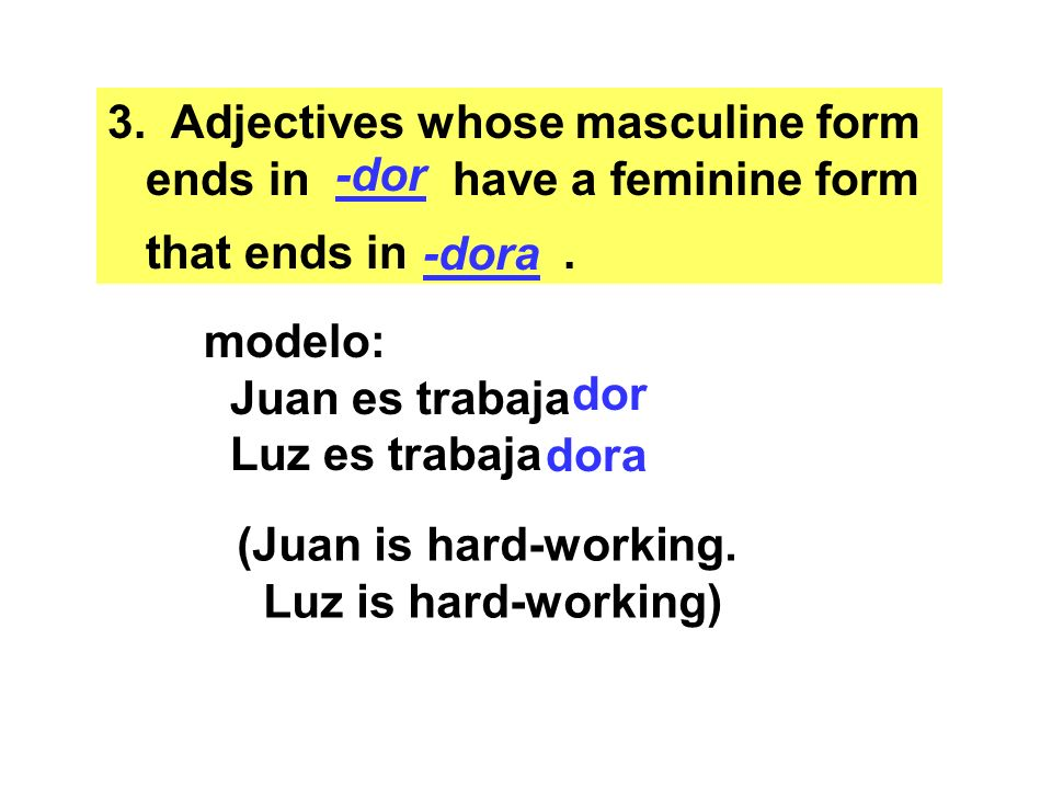 Adjectives whose masculine form