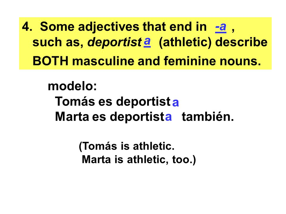 Some adjectives that end in , such as, deportist (athletic) describe