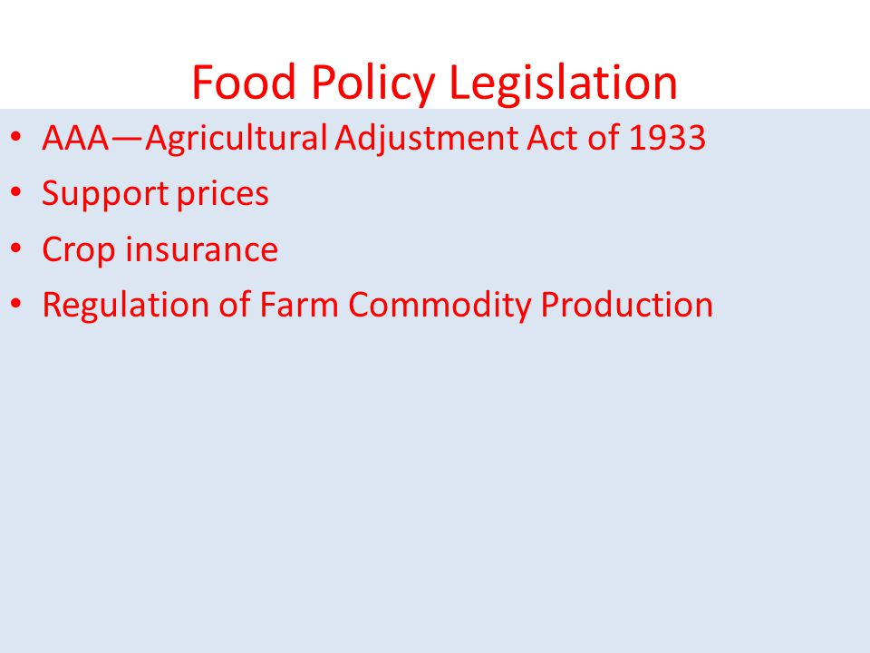 Food Policy Legislation