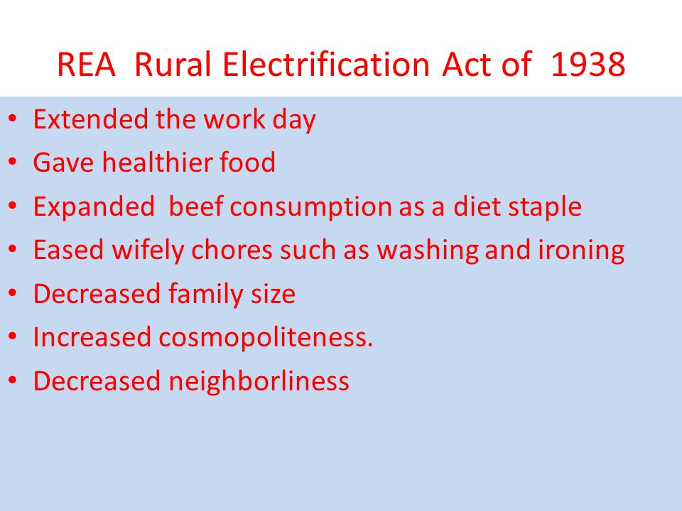 REA Rural Electrification Act of 1938