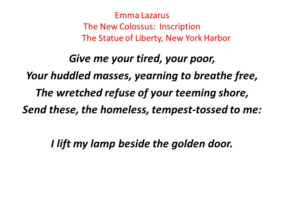 Emma Lazarus The New Colossus: Inscription